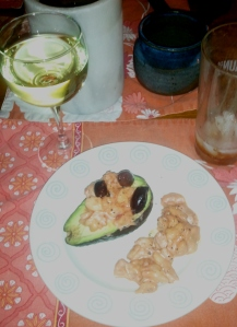 Shrimp and Avocado Salad with a glass of white wine