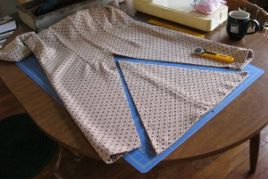 Cutting triangular sections from the dresses