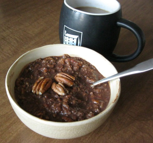 Chocolate & Toasted Pecan Oatmeal and Coffee
