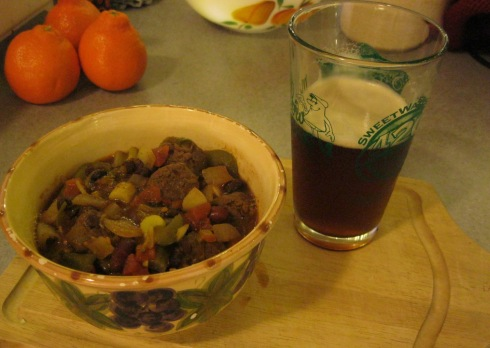 sausage chili and homebrew