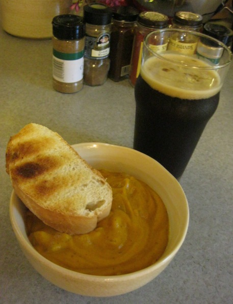 Spicy Carrot Soup with Mom's Stout