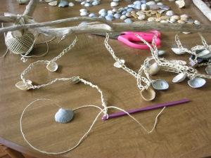 stringing shells with hemp yarn